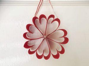 Valentines paper heart wreath